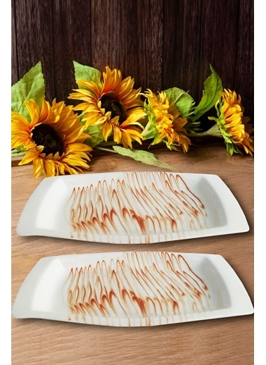 Kitchen Love 2 Adet Seramik Dikdörtgen 31X16Cm Servis Tabak Renkli